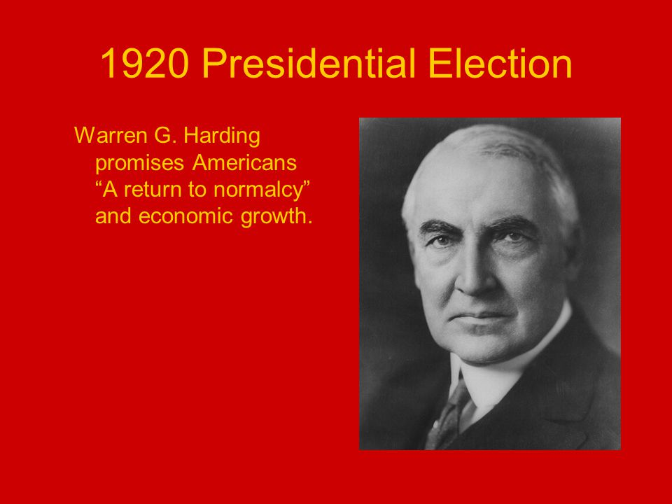 1920 Presidential Election Warren G.