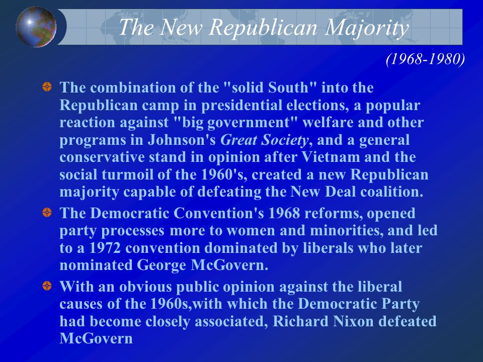 The New Republican Majority (1968-1980) The combination of the