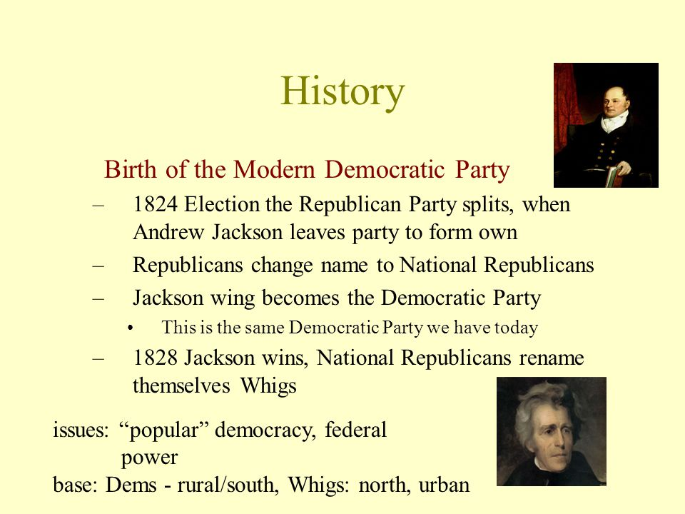 History Birth of the Modern Democratic Party –1824 Election the Republican Party splits, when Andrew Jackson leaves party to form own –Republicans change name to National Republicans –Jackson wing becomes the Democratic Party This is the same Democratic Party we have today –1828 Jackson wins, National Republicans rename themselves Whigs issues: popular democracy, federal power base: Dems - rural/south, Whigs: north, urban