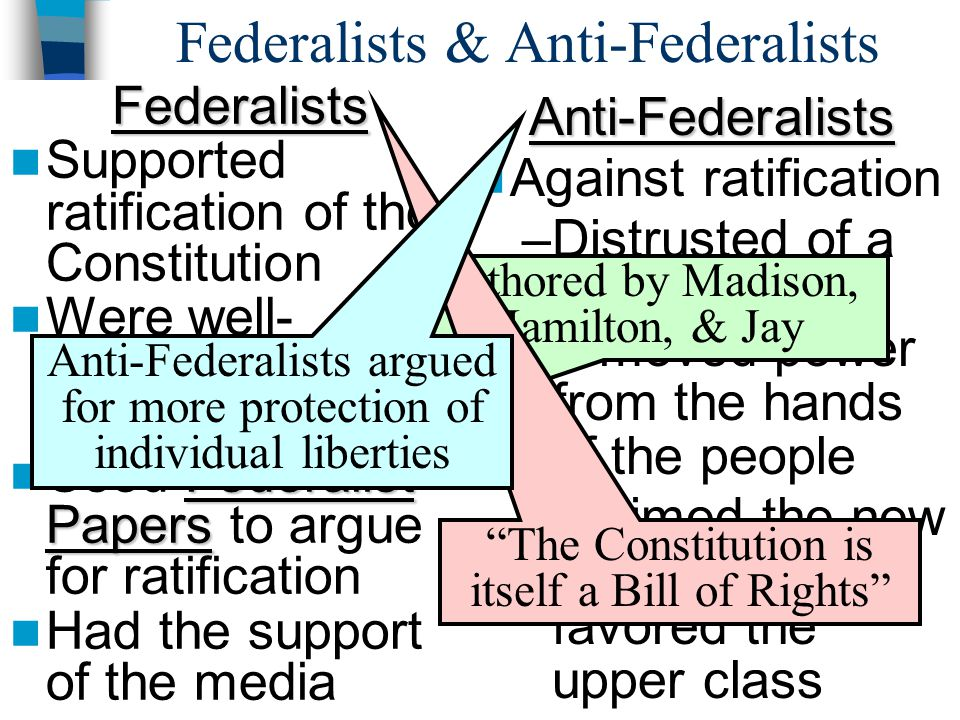 Federalists & Anti-FederalistsFederalists Supported ratification of the Constitution Were well- organized & educated Federalist Papers Used Federalist