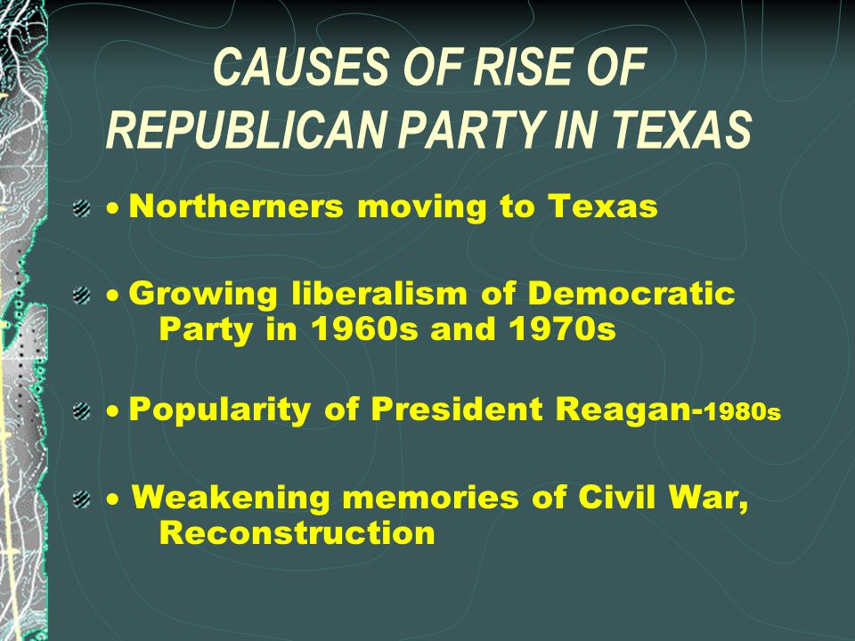 Reasons Texas Was a One- Party Democratic State SLAVERY Republican Party's early opposition to slavery CIVIL WAR Republican President Lincoln's role in defeating Confederacy during Civil War RECONSTRUCTION Harsh policies pursued by Republicans during Reconstruction
