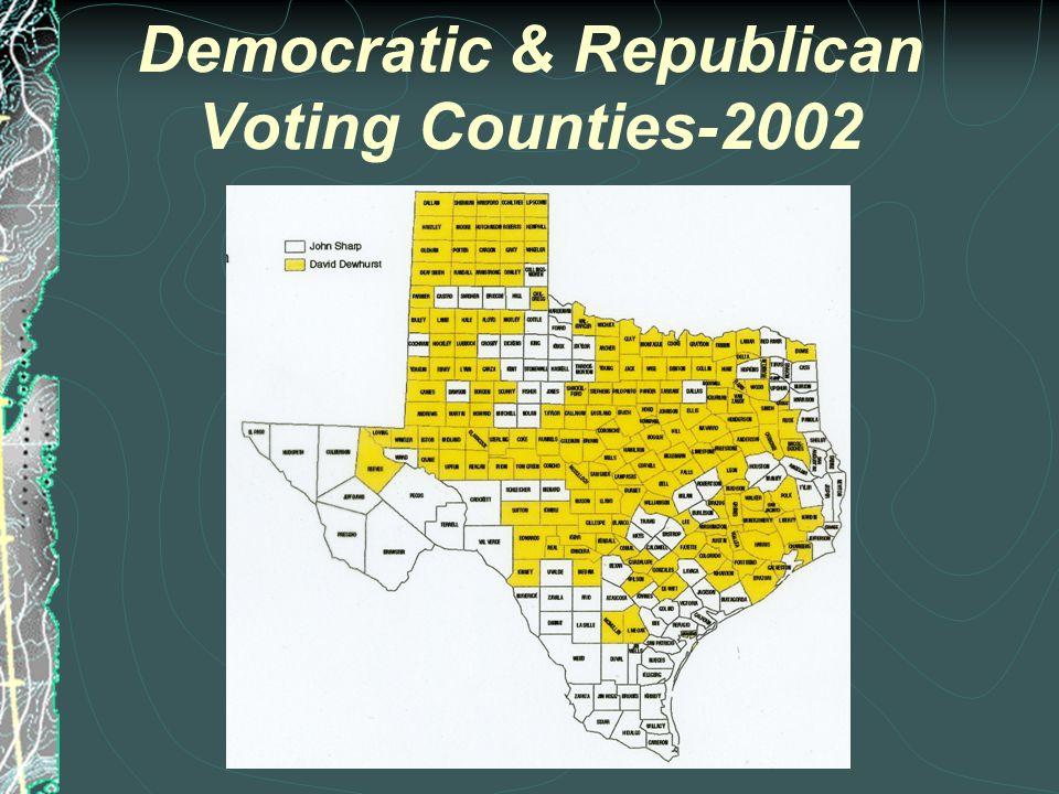 Democratic & Republican Voting Counties-1996