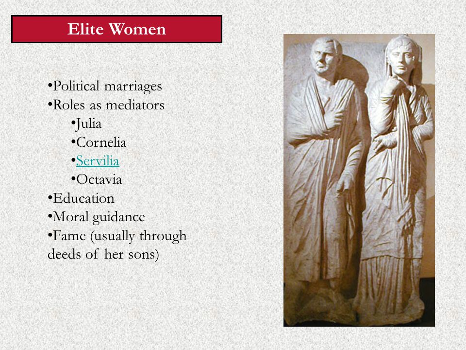 Elite Women Political marriages Roles as mediators Julia Cornelia Servilia Octavia Education Moral guidance Fame (usually through deeds of her sons)