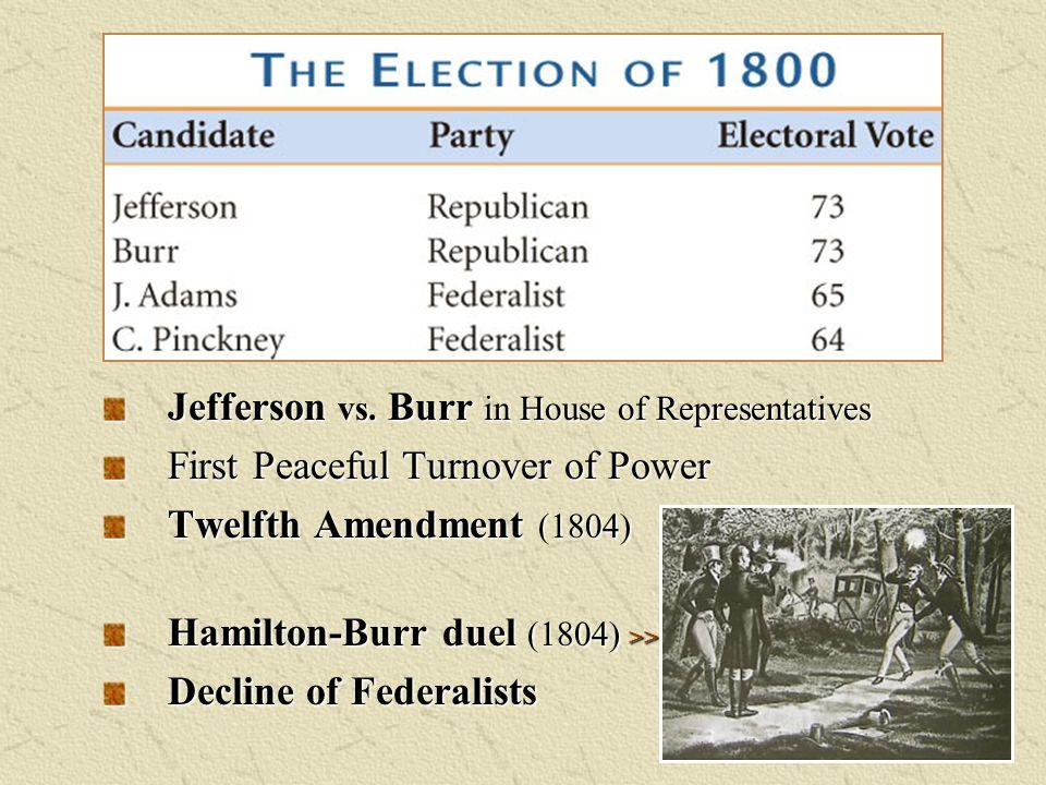 Jefferson vs. Burr in House of Representatives First Peaceful Turnover of Power Twelfth Amendment (1804) Hamilton-Burr duel (1804) >> Decline of Feder
