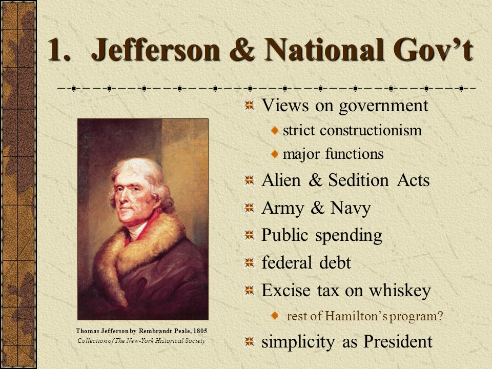 1.Jefferson & National Gov't Views on government strict constructionism major functions Alien & Sedition Acts Army & Navy Public spending federal debt