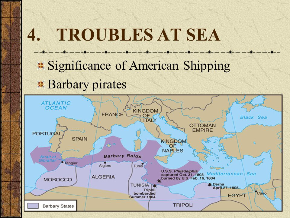 4.TROUBLES AT SEA Significance of American Shipping Barbary pirates