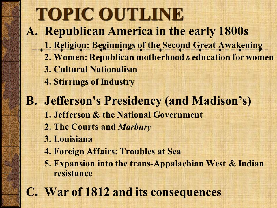 TOPIC OUTLINE A.Republican America in the early 1800s 1. Religion: Beginnings of the Second Great Awakening 2.Women: Republican motherhood & education