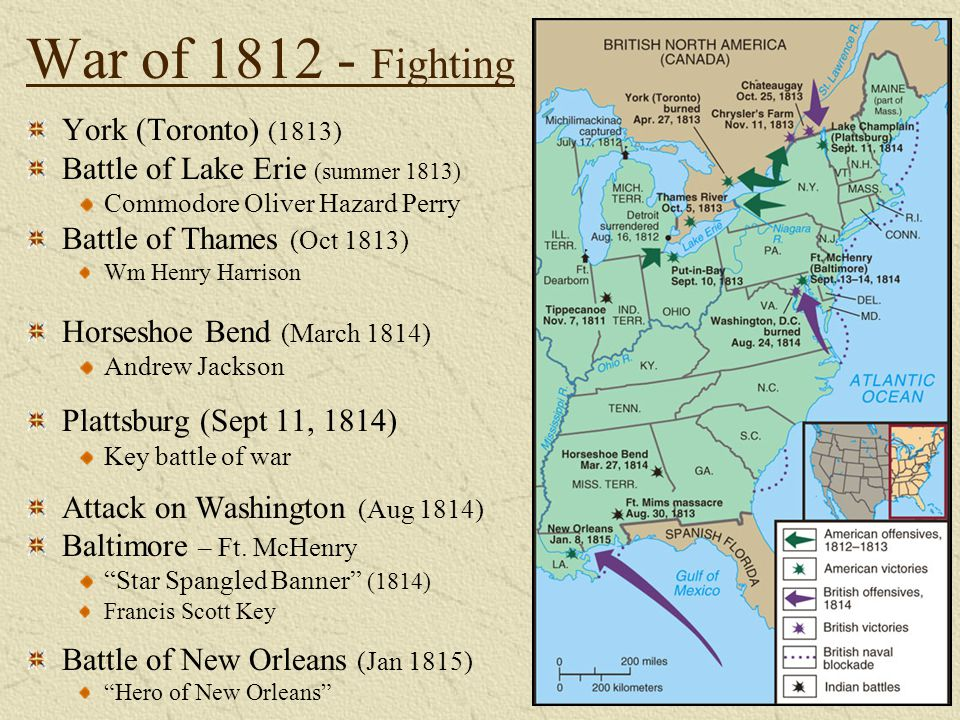 War of 1812 - Fighting York (Toronto) (1813) Battle of Lake Erie (summer 1813) Commodore Oliver Hazard Perry Battle of Thames (Oct 1813) Wm Henry Harr