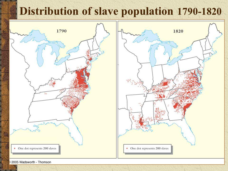 Distribution of slave population 1790-1820