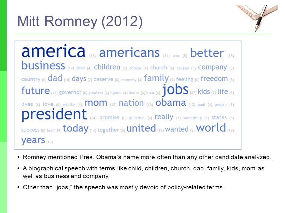 Mitt Romney (2012) Romney mentioned Pres.