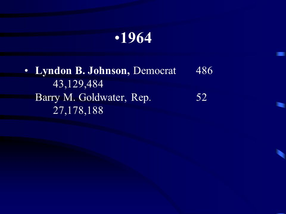 1964 Lyndon B. Johnson, Democrat486 43,129,484 Barry M. Goldwater, Rep.52 27,178,188