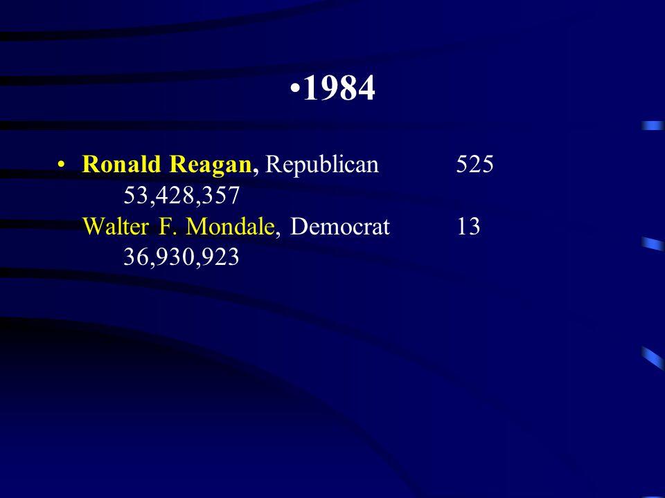 1984 Ronald Reagan, Republican525 53,428,357 Walter F. Mondale, Democrat13 36,930,923
