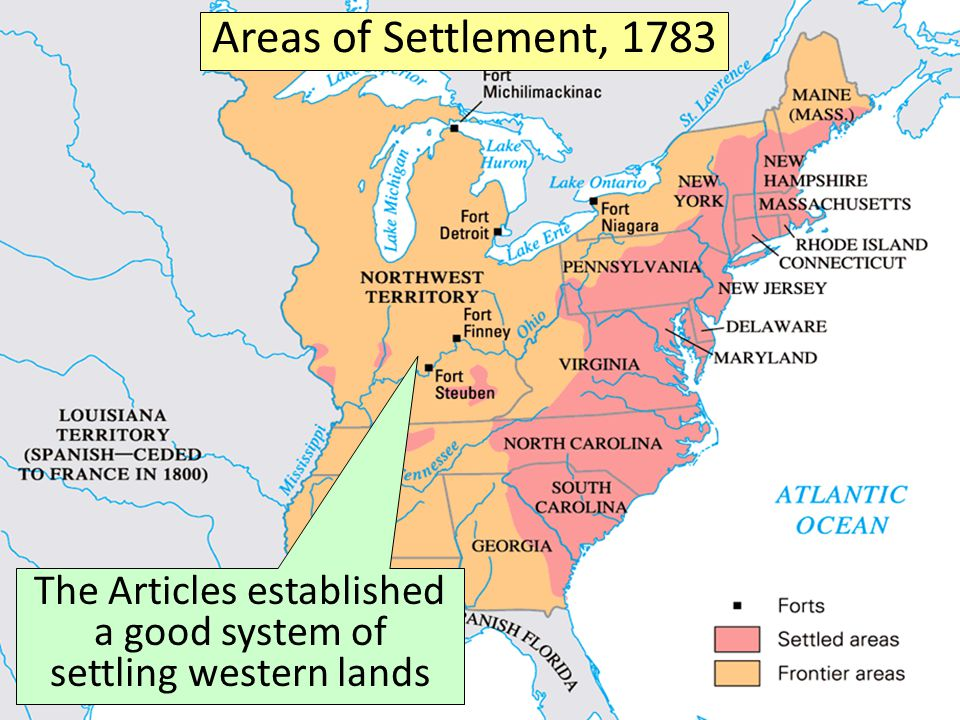 The United States, 1783 Areas of Settlement, 1783 The Articles established a good system of settling western lands