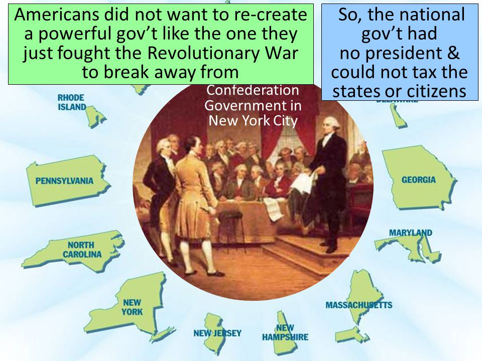 Confederation Government in New York City Americans did not want to re-create a powerful gov't like the one they just fought the Revolutionary War to