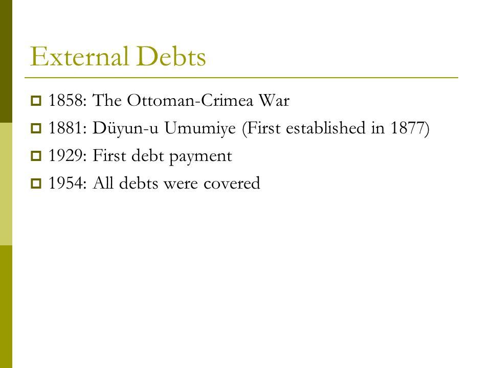 External Debts  1858: The Ottoman-Crimea War  1881: Düyun-u Umumiye (First established in 1877)  1929: First debt payment  1954: All debts were covered