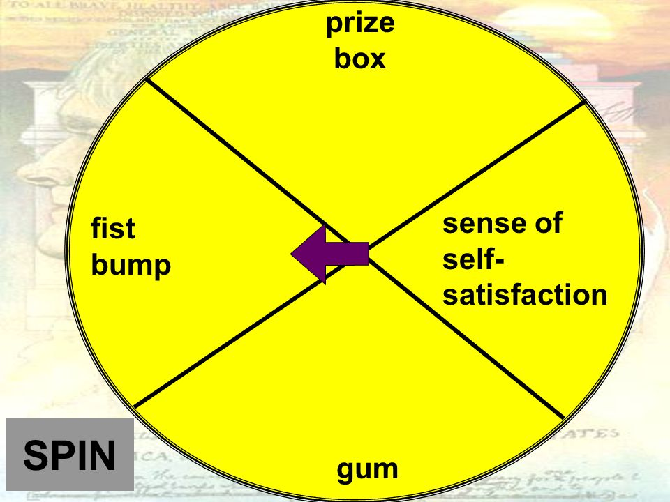 SPIN prize box sense of self- satisfaction gum fist bump