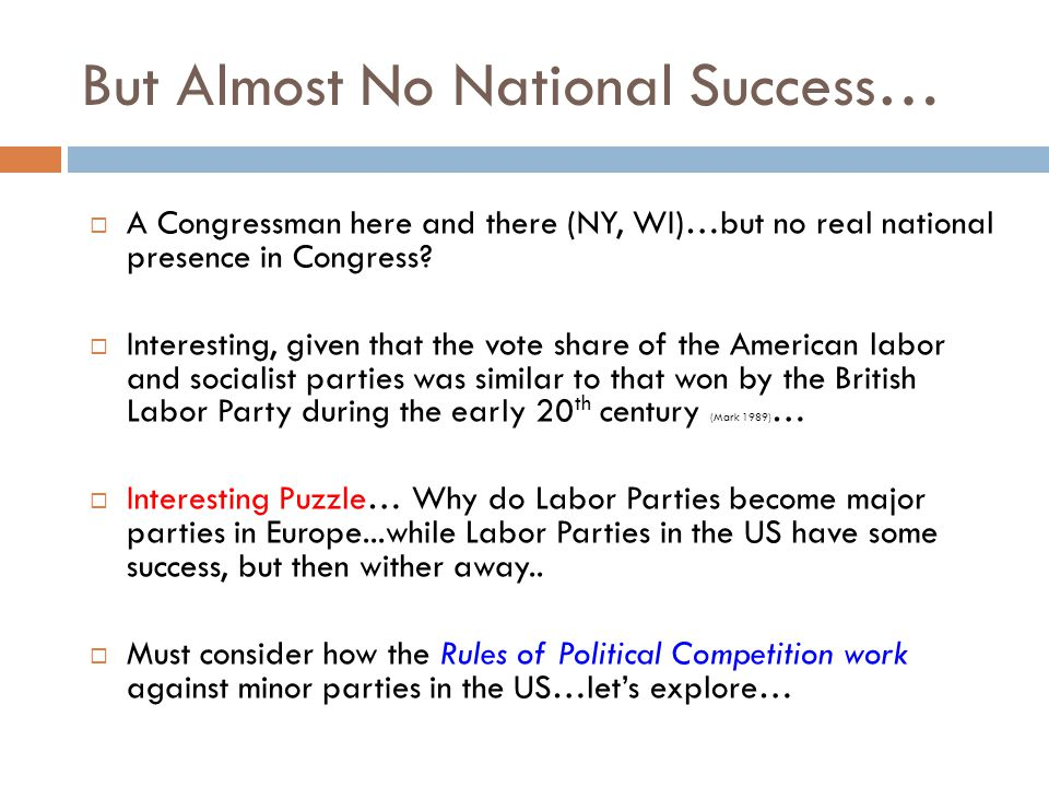 But Almost No National Success…  A Congressman here and there (NY, WI)…but no real national presence in Congress.