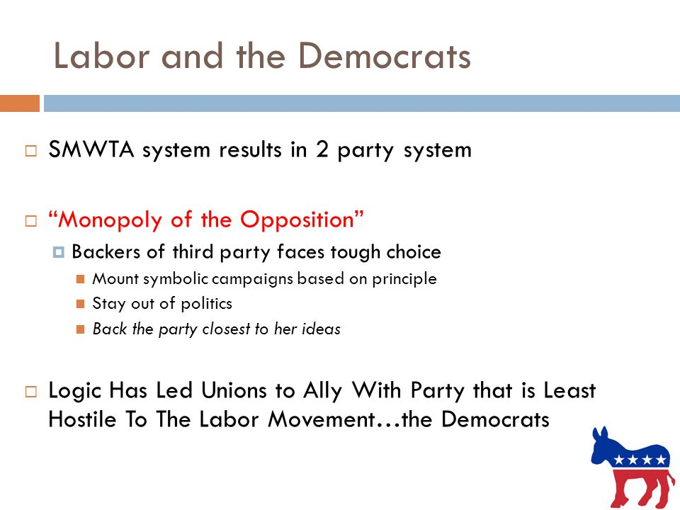 Labor and the Democrats  SMWTA system results in 2 party system  Monopoly of the Opposition  Backers of third party faces tough choice Mount symbolic campaigns based on principle Stay out of politics Back the party closest to her ideas  Logic Has Led Unions to Ally With Party that is Least Hostile To The Labor Movement…the Democrats