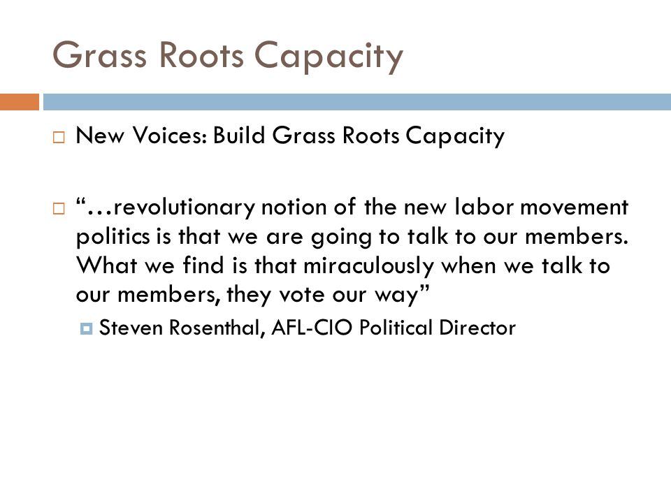 Grass Roots Capacity  New Voices: Build Grass Roots Capacity  …revolutionary notion of the new labor movement politics is that we are going to talk to our members.