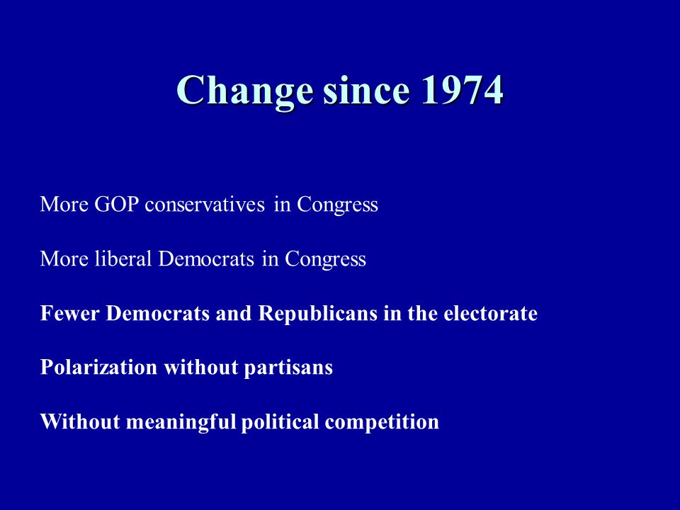 Change since 1974 More GOP conservatives in Congress More liberal Democrats in Congress Fewer Democrats and Republicans in the electorate Polarization