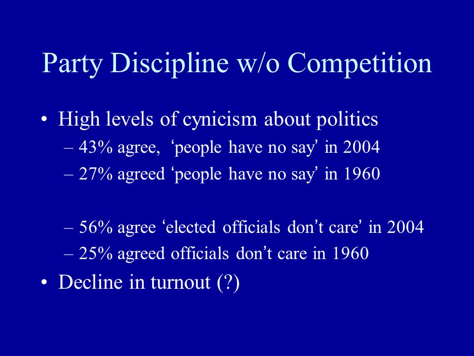 Party Discipline w/o Competition High levels of cynicism about politics –43% agree, ' people have no say ' in 2004 –27% agreed ' people have no say '