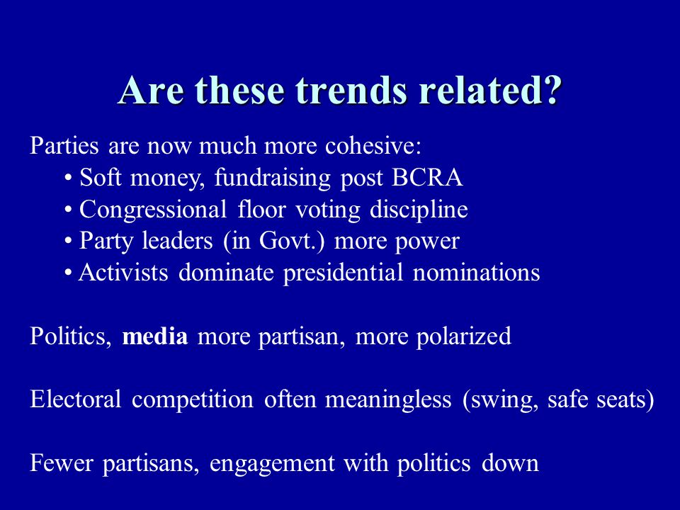 Are these trends related? Parties are now much more cohesive: Soft money, fundraising post BCRA Congressional floor voting discipline Party leaders (i