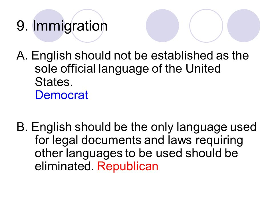 9. Immigration A. English should not be established as the sole official language of the United States. Democrat B. English should be the only languag