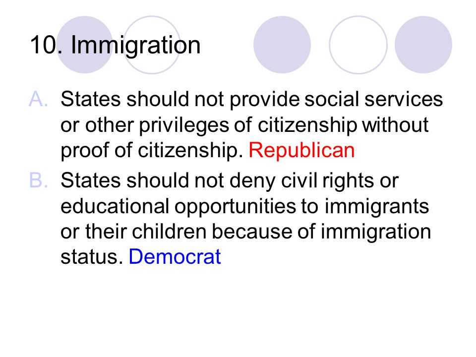 10. Immigration A.States should not provide social services or other privileges of citizenship without proof of citizenship. Republican B.States shoul