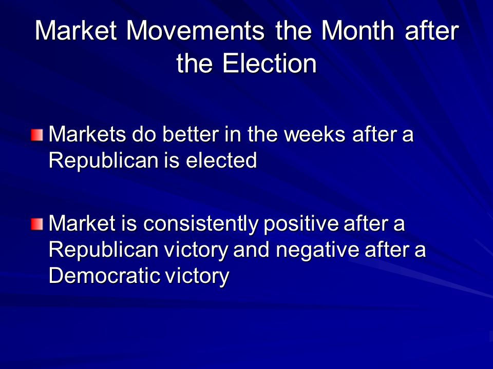 Market Movements the Month after the Election Markets do better in the weeks after a Republican is elected Market is consistently positive after a Republican victory and negative after a Democratic victory