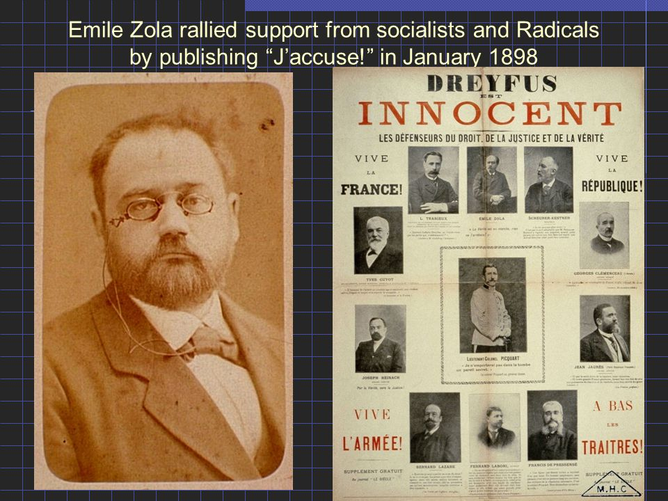 "Emile Zola rallied support from socialists and Radicals by publishing ""J'accuse!"" in January 1898"