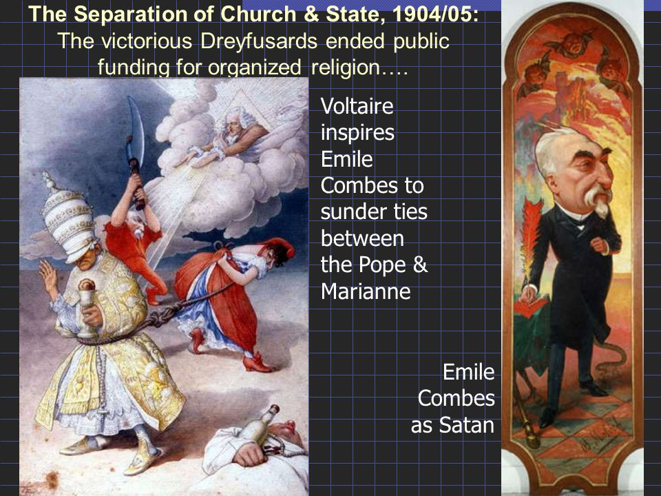 The Separation of Church & State, 1904/05: The victorious Dreyfusards ended public funding for organized religion….