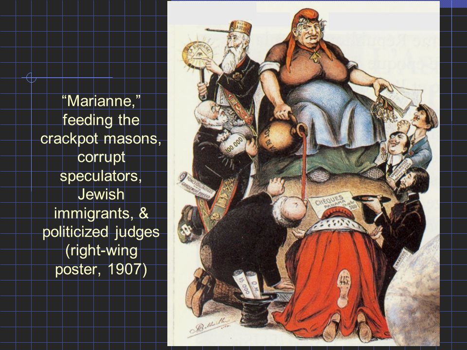 """Marianne,"" feeding the crackpot masons, corrupt speculators, Jewish immigrants, & politicized judges (right-wing poster, 1907)"