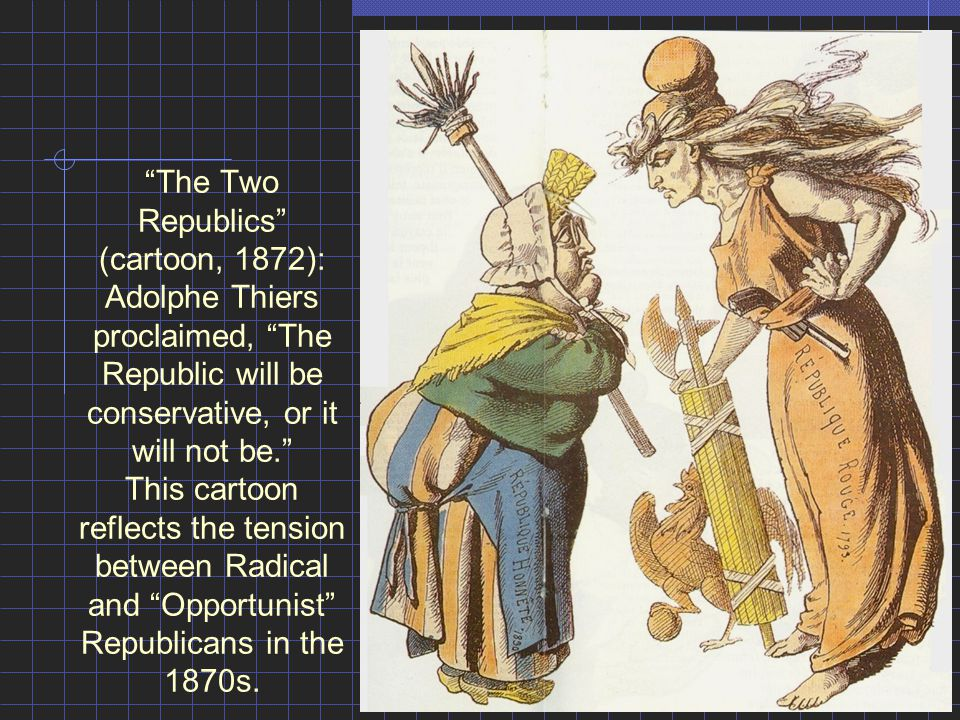 """The Two Republics"" (cartoon, 1872): Adolphe Thiers proclaimed, ""The Republic will be conservative, or it will not be."" This cartoon reflects the tens"