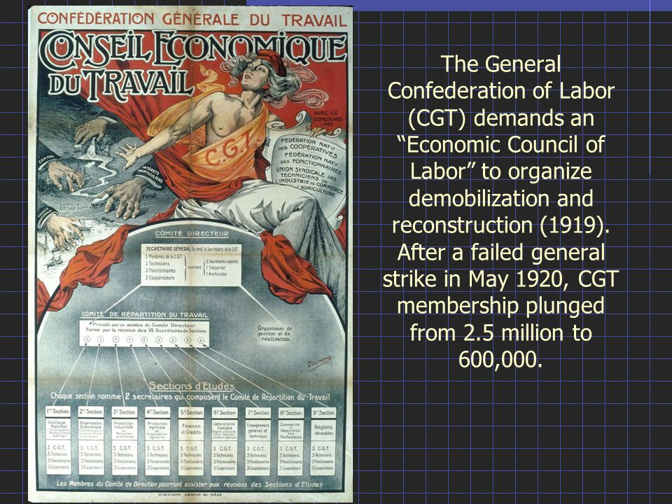 The General Confederation of Labor (CGT) demands an Economic Council of Labor to organize demobilization and reconstruction (1919).