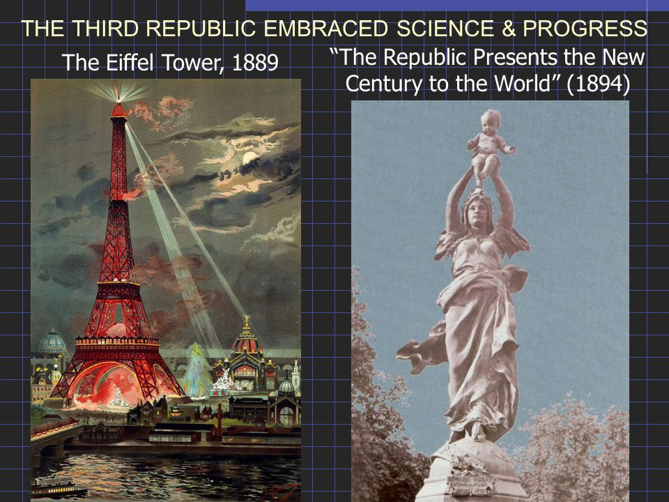 "THE THIRD REPUBLIC EMBRACED SCIENCE & PROGRESS The Eiffel Tower, 1889 ""The Republic Presents the New Century to the World"" (1894)"