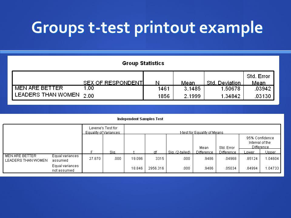 Groups t-test printout example Groups t-test printout example