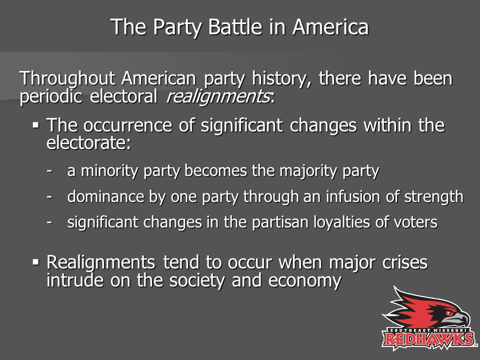 The Stability of the Republican-Democratic Conflict since 1860 Since 1860, the Republicans and Democrats have confronted each other as the major combatants in the electoral arena, both sustaining dramatic swings in support.