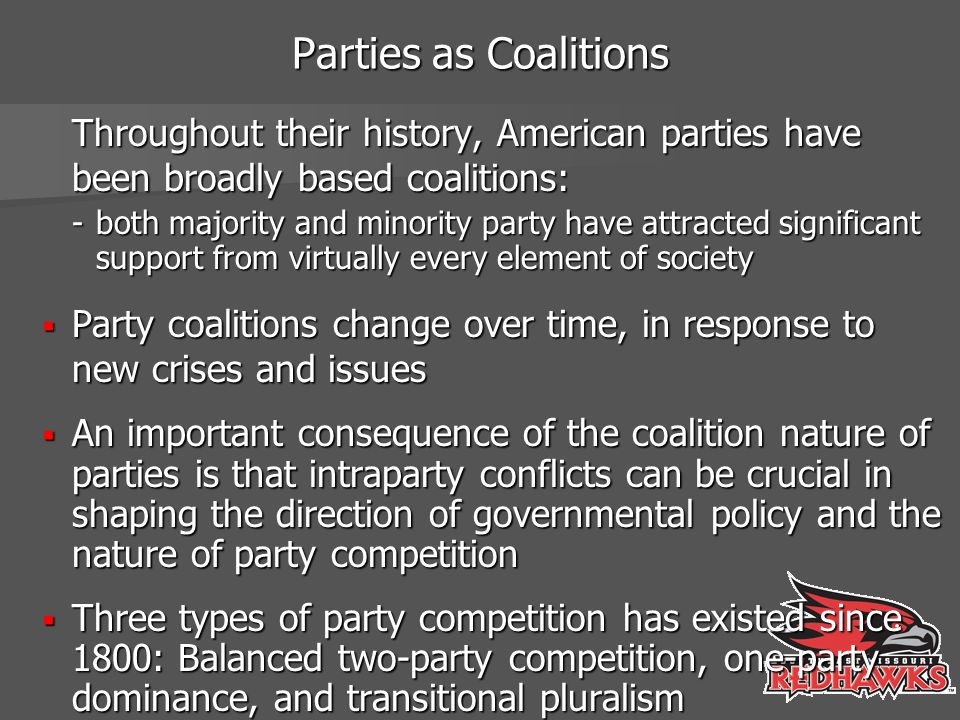 Parties as Coalitions Throughout their history, American parties have been broadly based coalitions: -both majority and minority party have attracted
