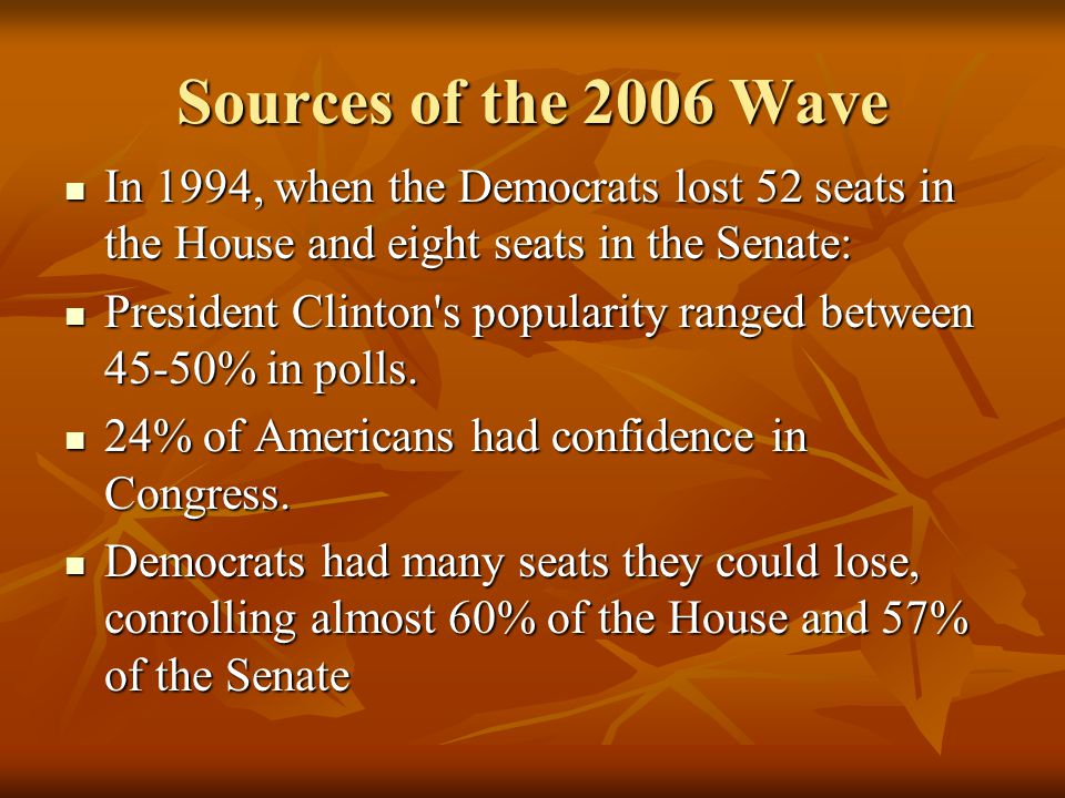 Sources of the 2006 Wave In 1994, when the Democrats lost 52 seats in the House and eight seats in the Senate: In 1994, when the Democrats lost 52 seats in the House and eight seats in the Senate: President Clinton s popularity ranged between 45-50% in polls.