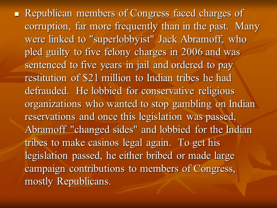 Republican members of Congress faced charges of corruption, far more frequently than in the past.