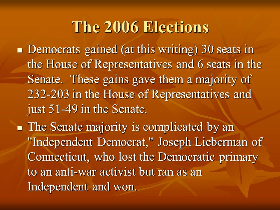 The 2006 Elections Democrats gained (at this writing) 30 seats in the House of Representatives and 6 seats in the Senate.