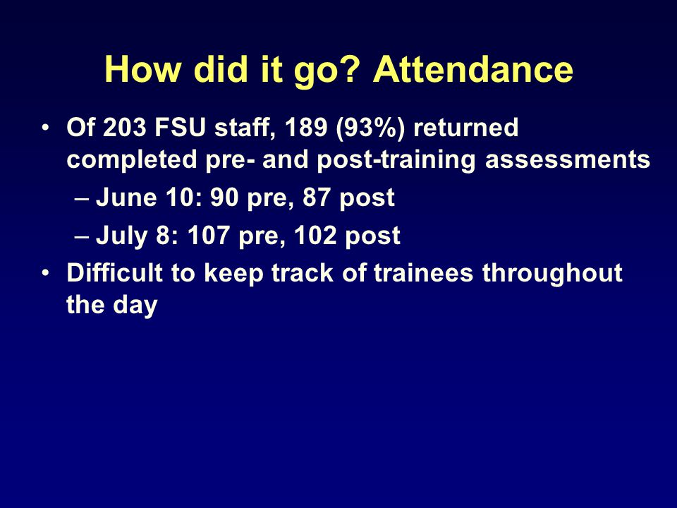 How did it go? Attendance Of 203 FSU staff, 189 (93%) returned completed pre- and post-training assessments –June 10: 90 pre, 87 post –July 8: 107 pre