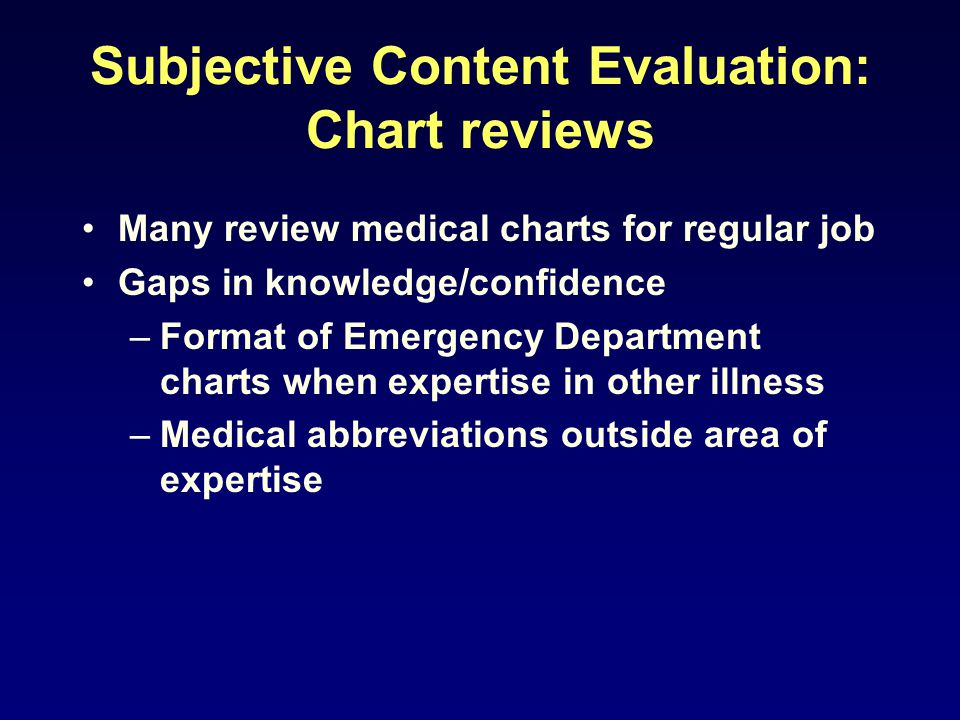 Subjective Content Evaluation: Chart reviews Many review medical charts for regular job Gaps in knowledge/confidence –Format of Emergency Department c