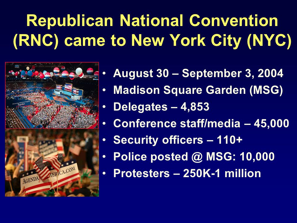 Republican National Convention (RNC) came to New York City (NYC) August 30 – September 3, 2004 Madison Square Garden (MSG) Delegates – 4,853 Conferenc