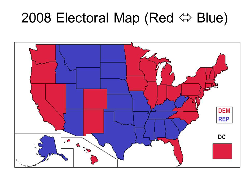 2008 Electoral Map (Red  Blue)