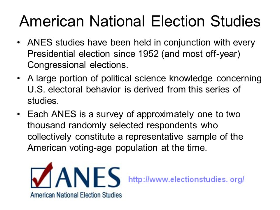 American National Election Studies ANES studies have been held in conjunction with every Presidential election since 1952 (and most off-year) Congress