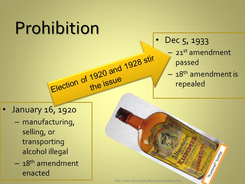 Prohibition January 16, 1920 – manufacturing, selling, or transporting alcohol illegal – 18 th amendment enacted Dec 5, 1933 – 21 st amendment passed – 18 th amendment is repealed Election of 1920 and 1928 stir the issue http://www.sha.org/bottle/labeledbottles.htm Kummel bottle