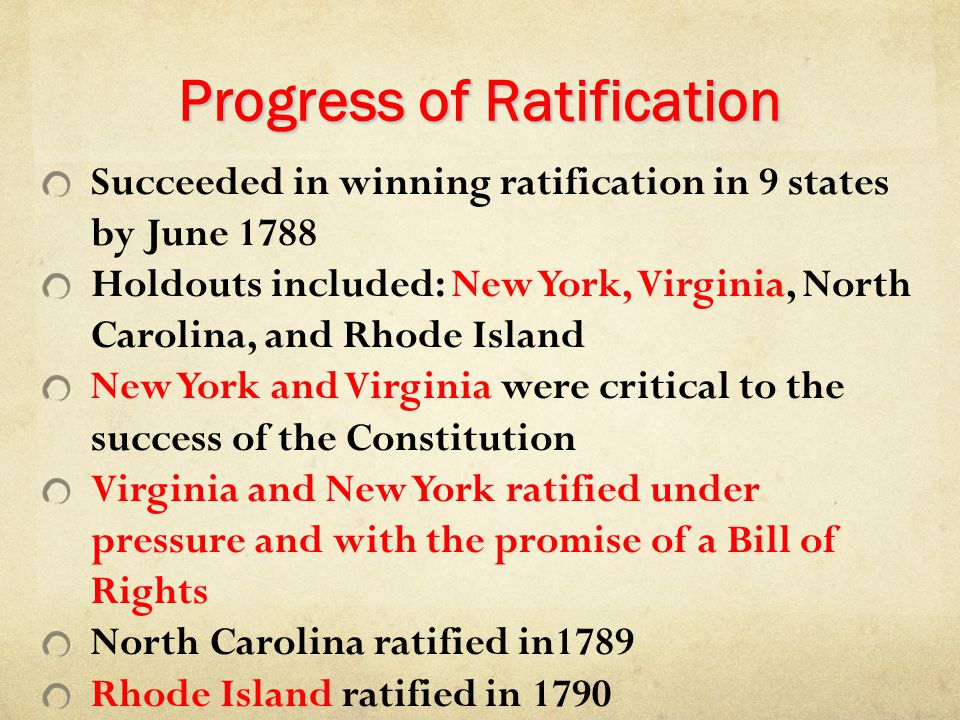 Progress of Ratification Succeeded in winning ratification in 9 states by June 1788 Holdouts included: New York, Virginia, North Carolina, and Rhode I