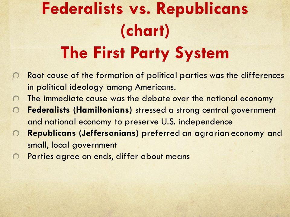 Federalists vs. Republicans (chart) The First Party System Root cause of the formation of political parties was the differences in political ideology