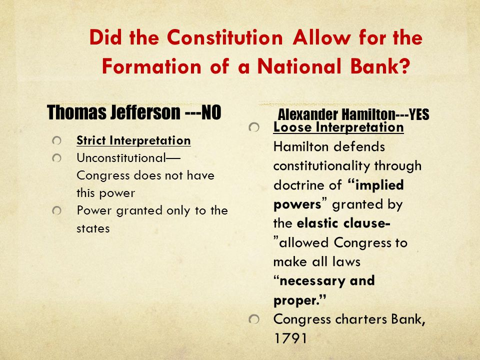Did the Constitution Allow for the Formation of a National Bank? Strict Interpretation Unconstitutional— Congress does not have this power Power grant